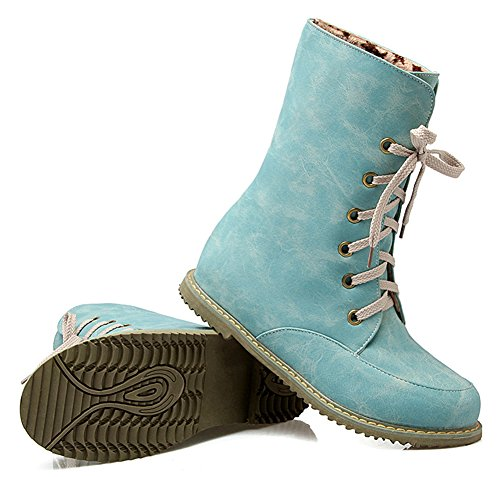 IDIFU Womens Comfy Round Toe Flat Martin Boots Combat Ankle Booties Lace Up Blue H5CdQsHbS