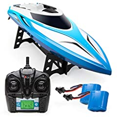 The H102 velocity is an incredibly fast remote control boat with an array of features that set it apart from other remote controlled boats, including a large-prop motor that pushes our new RC boats to a whopping 20+ mph!  make monster Wakes a...