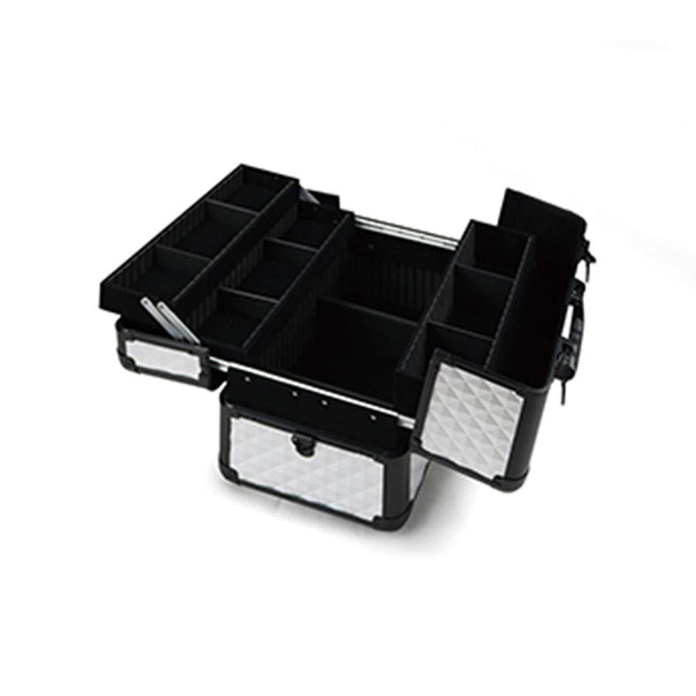 Vetrineinrete® Valigetta porta trucco cofanetto con 11 scomparti per make up beauty case organizer valigia per trucchi nail art per estetista truccatrice bianco e nero BC038 D14 Vetrine in rete®