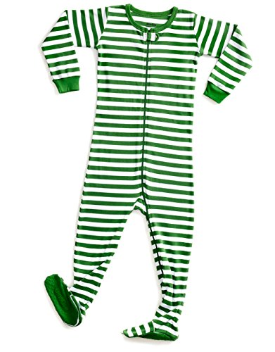 (DinoDee Footed Green & White Stripes Pajama Sleeper 6-12)