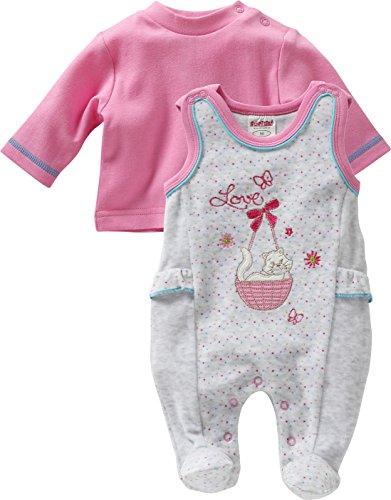 Schnizler Baby - Mädchen Strampler Set Nicki, Love, 2 - tlg. mit Langarmshirt, Oeko - Tex Standard 100, Gr. 50, Grau (grau/melange 37)