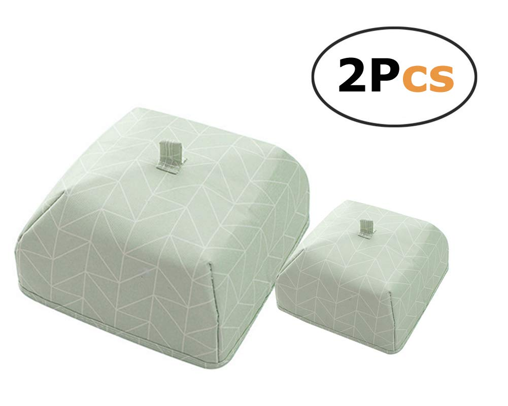 Portable Thermal Foldable Food Covers Keep Bugs&Dust Off, Internal Coating Keeps Food Warm(green rectangle 2 pcs)