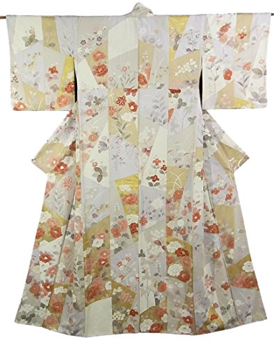 穿孔する一般的な乳リサイクル 着物 付下小紋 正絹 袷 色紙に四季の花 裄65cm 身丈166cm