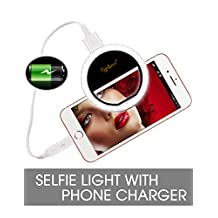 Selfie Ring Light for Phone, Rechargeable Selife Light with Power Bank 1500mAh Phone Charger, 36 LED Light Ring Clip On iPhone iPad Samsung Galaxy-Black
