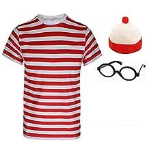 Ladies Mens Wheres Nerd Geek Glasses Fancy Dress Costume Book Day 3/4 Piece Set