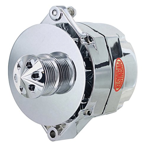 Powermaster Performance 37294-311 Chrome Alternator (12SI 150A 6 Groove Pulley Baffle & Cone 1 or 3 Wire)