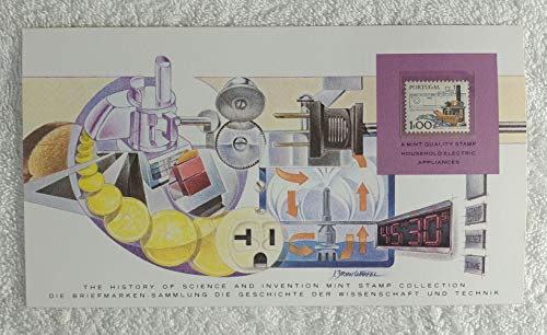 Household Electric Appliances - Postage Stamp (Portugal, 1979) & Art Panel - The History of Science & Invention - Franklin Mint (Limited Edition, ()