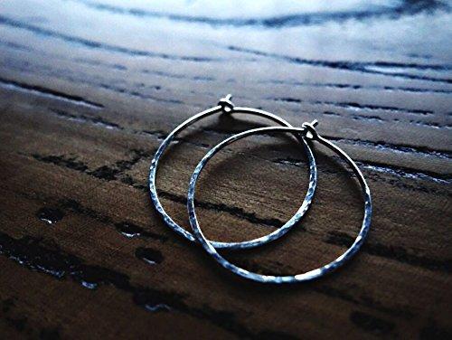 A PAIR-Hammered Texture Medium Hoop Earrings/Classic Silver Hoop Earrings/Gold Hoops/Rose Gold Hoop earrings/Everyday Earrings/925 Sterling Silver/14K Gold Filled/14K Rose Gold Filled/Diameter - Sterling Hoop Silver 1'