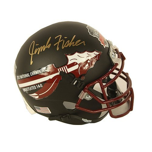 Jimbo Fisher Autographed Signed 2013 National Champions Matte Black Mini Helmet - Certified Authentic