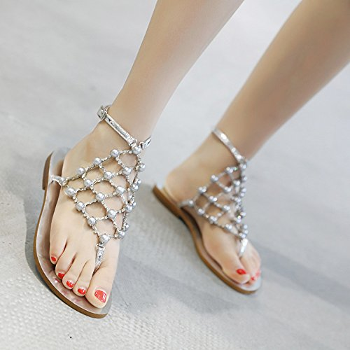 Women's silvery New Water JUWOJIA Pinch Flat Beach Chain Summer Net Shoes Drill Pearl Sandals OCqwPxH