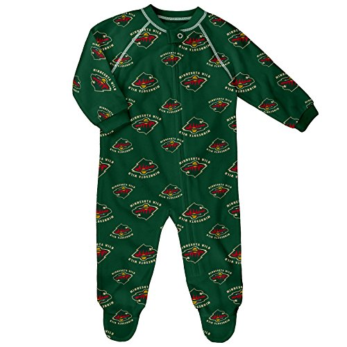 NHL Minnesota Wild Children Unisex Team Printed Coverall, 3-6 Months, Dragon Green (Wild Printed)