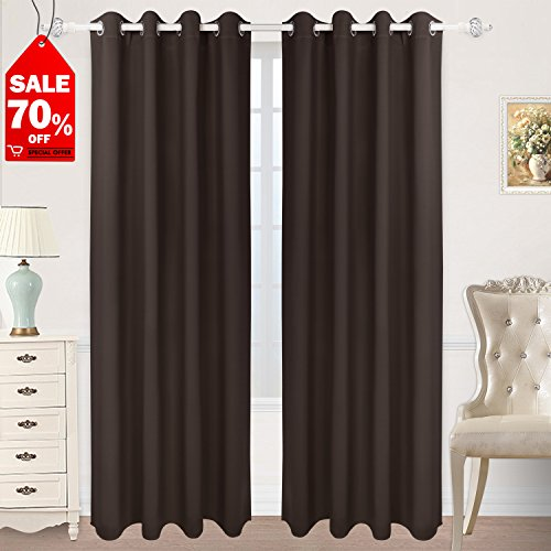 Chocolate Window - HOMEIDEAS Blackout Curtain Room Darkening Thermal Insulated Grommet Window Curtain Panel for Bedroom (52 x 84 Inches, Chocolate, 1 Panel)