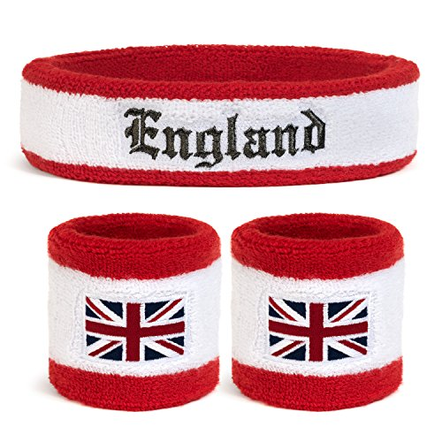 Suddora England Headband & Wristbands Set (Includes 2 Wrist & 1 Head Sweatband)