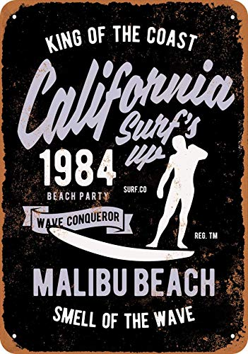 (YFULL 12 X 16 Metal Sign Tin - California Surf's Up Malibu Beach (Black Background) - Vintage Look)