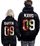 Pxmoda King Queen Couple Hoodies Hooded Sweatshirt Pullover (M, Black-King)