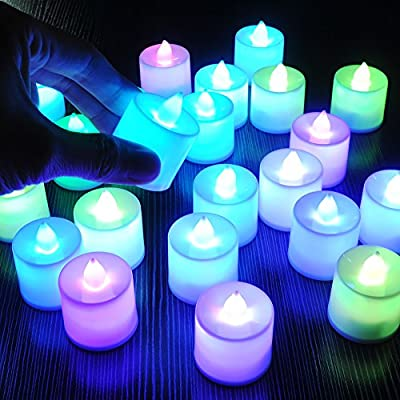 LED Candle Night Light 24 Pcs Smokeless 7 Colors Lights Colorful Changing Simulated for Christmas Wedding Valentine's Day Birthday Party