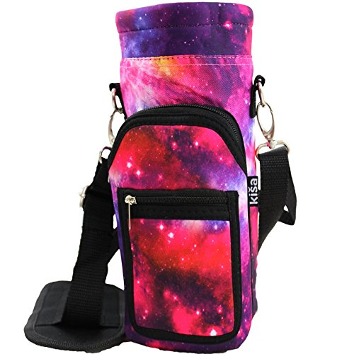 Kisa Water Bottle Holder Carrier Flask Swell Type Bottles Adjustable Shoulder/Hand Strap 2 Pocket Sling Neoprene Sleeve Hiking Travel Hydro 16oz 17oz 20oz 24oz 25oz 32oz 40oz (Medium, Pink Galaxy)