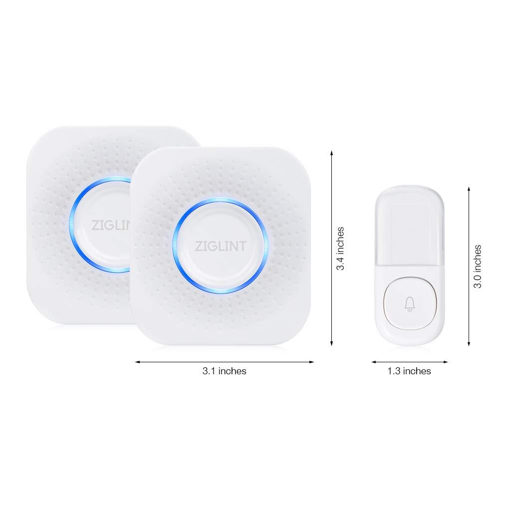 ZIGLINT Wireless Doorbell, No Batteries Required, IP55 Waterproof Door Bell Operating at over 500-feet Range, Door Chime Kit with 2 Receivers, 58 Chimes and 4 Adjustable Volume Levels, White by ZIGLINT (Image #9)