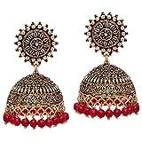 V L Impex Sun Shape Lightweight Maroon Gold Plating Oxidised Jhumki Jhumka Earring For Women