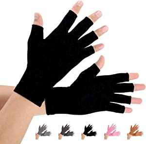 2 Pairs Arthritis Compression Gloves for Arthritis Pain Relief, Rheumatoid, Osteoarthritis and Carpal Tunnel for Men and Women, Fingerless for Typing (Pure Black, Medium)