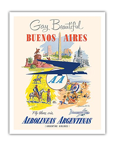 Gay and Beautiful - Buenos Aires - Fly there via Aerolineas Argentinas - Argentine Airlines - Vintage Airline Travel Poster by Adolph Treidler c.1950s - Fine Art Print - 11in x 14in