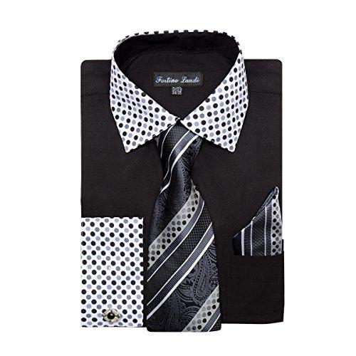 Men's Polka Dot Collar Shirt, Tie,Hanky & Cufflinks - Mens Cufflink Dress Shirt