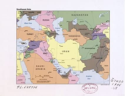Amazon.com: 1996 Map Southwest Asia. - Size: 18x24 - Ready to Frame ...
