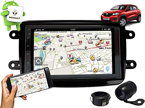 Central Multimídia Renault Kwid Gps Tv Esp. Android E Ios Black Piano