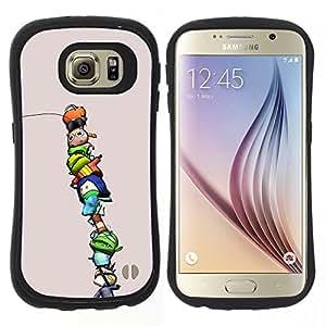 "Hypernova Slim Fit Dual Barniz Protector Caso Case Funda Para Samsung Galaxy S6 [Personajes niños lindos divertidos púrpura""]"