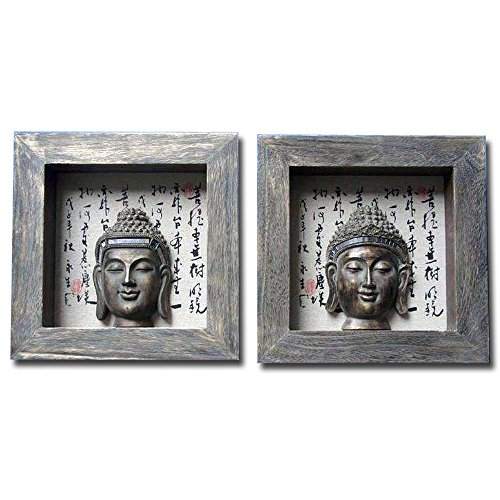 Turtle King Corp Buddha Bust Wall Art Antiqued Asian Writing 3D Shadow Box Shadowbox D67211