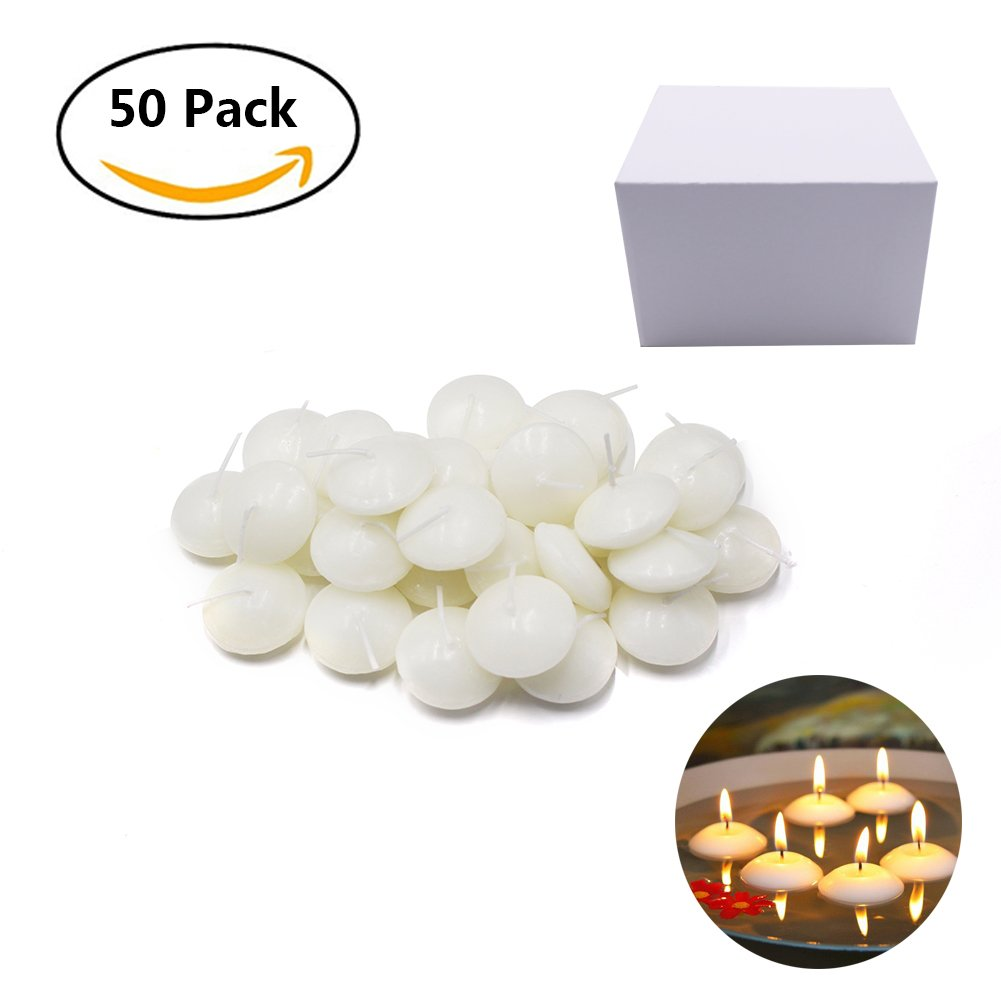 Etyhf 50 Pieces Unscented Water Floating Disc Candles for Centerpieces,Wedding,Party and Home Decoration, White 1.5 Inch by Etyhf (Image #1)