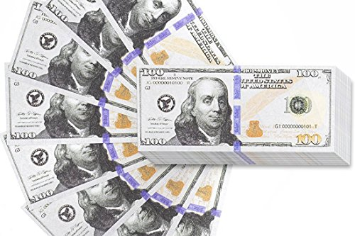 Real One Dollar Bill - 200 Pack Play Bills - Prop Money Fake Money Double Sided 100 Dollar Bills, 2.6 x 6.1 Inches