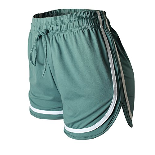 VALINNA Women's Athletic Yoga Running Workout Shorts Lounge Short (L/XL (26″ – 33″), Sea)