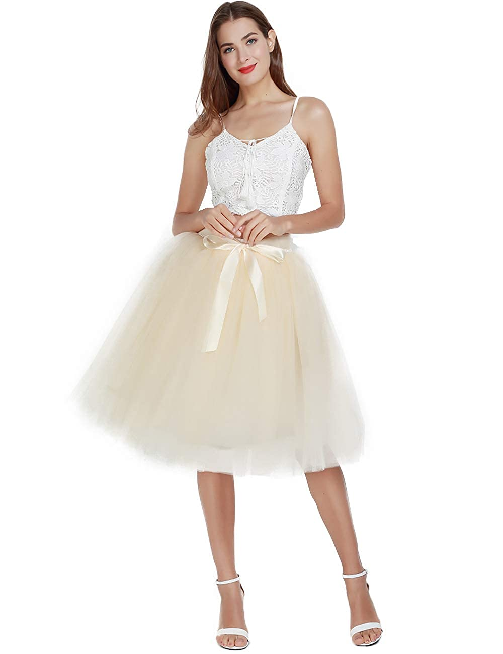 4deb812af8afa Women's High Waist Pleated Princess A Line Midi/Knee Length Tutu Tulle  Skirt for Prom Party