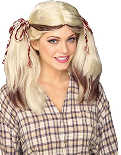 Farm Girl Wig (blonde w/ brown) Adult Accessory -