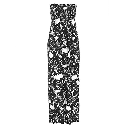 Oops Outlet Women's Printed Gathered Boobtube Bandeau Sheering Long Maxi Dress Plus Size US 18 Skull Rose - Oops Outlet