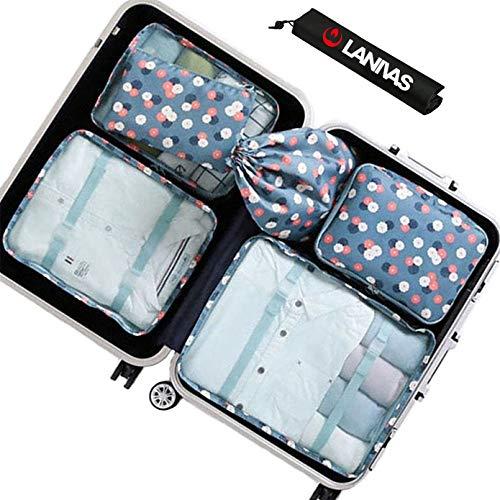 Packing Bags,Lanivas 7 Piece Foldable Nylon Storage Cosmetics Large Travel Case Blue Flower ()