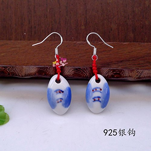 usongs Jingdezhen Ceramic jewelry earrings hand-painted blue and white porcelain earrings sterling silver earrings earrings earrings Bugs