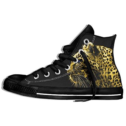 Classiche Sneakers Alte Scarpe Di Tela Anti-skid Leopard Casual Da Passeggio Per Uomo Donna Nero