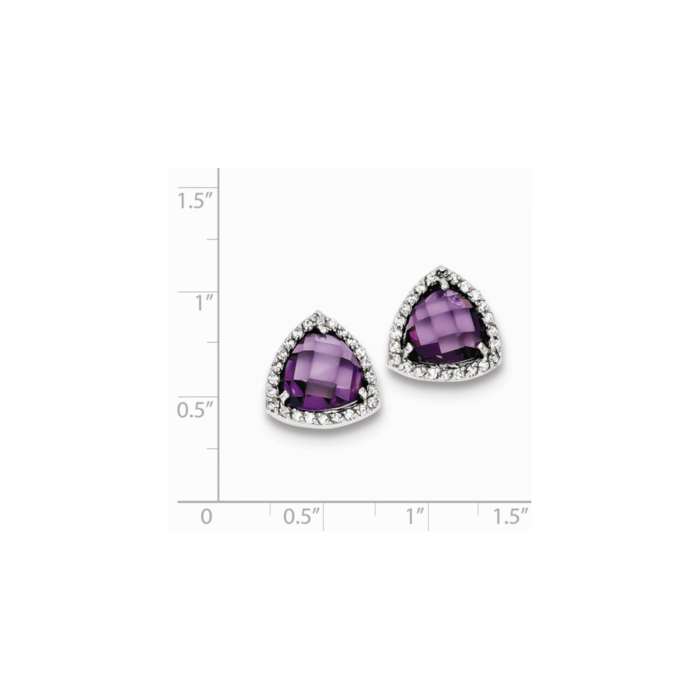 FB Jewels Solid Sterling Silver Rhodium Plated Purple CZ Cubic Zirconia Trillion Post Earrings