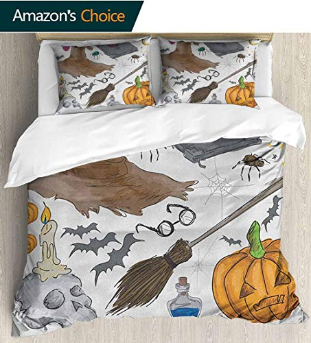 Halloween Duvet Cover Cotton King White,Box Stitched,Soft,Breathable,Hypoallergenic,Fade Resistant With 2 Pillowcase For Kids Bedding(80
