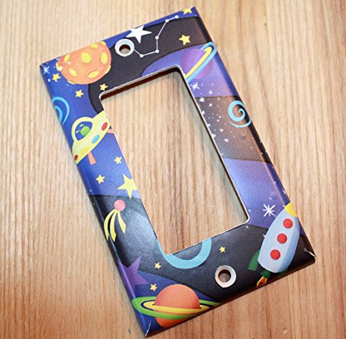 Outerspace Rocket Ship Boys Bedroom Light Switch Cover LS0037 (Single Standard) Toad and Lily LS0037a