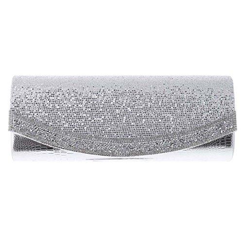 Evening Sequins Flap Silver Long Clutch Texture Damara Womens q45XxFwZH
