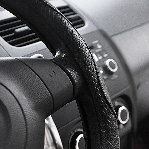 Elantrip Leather Steering Wheel Cover 14 1//2 to 15 inch Universal Anti Slip Odorless for Car Truck SUV Grey and Black