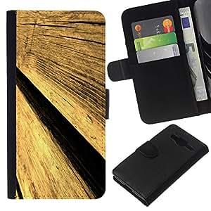 // PHONE CASE GIFT // Moda Estuche Funda de Cuero Billetera Tarjeta de crédito dinero bolsa Cubierta de proteccion Caso Samsung Galaxy Core Prime / Wood Texture Aged /