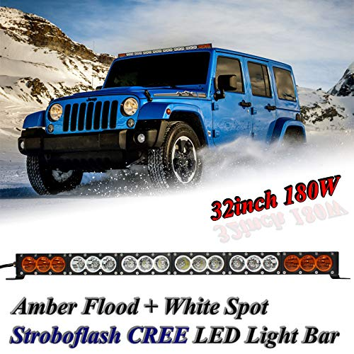 (AngelMa 32'' Dual Color Amber/White CREE Led Light Bar Cree LED Light Bar Offroad stroboflash 180w 20000 Lumen Off Road Polaris RZR UTV 4WD 4X4 Jeep Truck Tractor Raptor Bumper Rock+ Wireless Control)