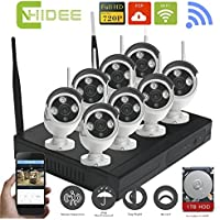 CNHIDEE 8CH 720P Wireless nvr kit P2P onvif 8pcs WIFI IP Camera System Waterproof 1.0MP CCTV Camera Vedio Surveillance System with 1 TB HDD