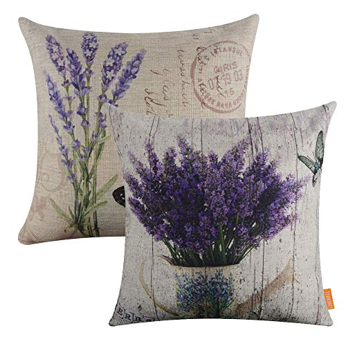 LINKWELL Pack of 2, Square Throw Pillow Covers Set Decorative Cushion Case for Sofa Bedroom Car Couch 18 x 18 Inch - French Country Purple Lavender Flower CC1038-1142