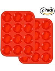 Docik 2 Pack Silicone Muffin Pan, 12 Cup Baking Tin, Large Cake Cupcake Mold Tray, Heat Resistant Non Stick Bakeware, Red