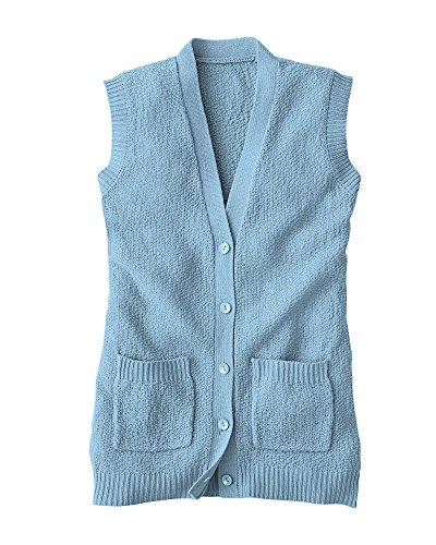 Light Blue Cardigan Sweater (National Scramble Stitch Sweater Vest, Light Blue, Large)